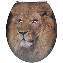 WC-Sitz Lion mit 3D-Effekt Toiletten-Sitz mit Absenkautomatik, rostfreie Fix-Clip Hygiene Zinkdruckgussbefestigung