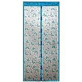 Gosear Mosquitera Magnética para Puertas, Pantalla de Anti Insectos Mosquito para Cortina con Velcro (39 x 82 Pulgadas, Estilo Mariposa, Azul)