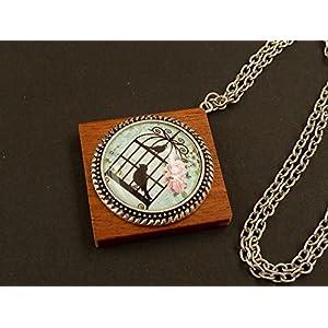 Halskette mit Vogelkäfig aus Holz, Glas und Metall, Unikat