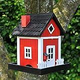 VOSS.garden Dänisches Futterhaus Skagen in Rot | zum Aufhängen | Schwedenhaus-Design | Wetterbeständig | Vogelhaus Vogelfutterspender Vogelfutterstation Vogelhäuschen