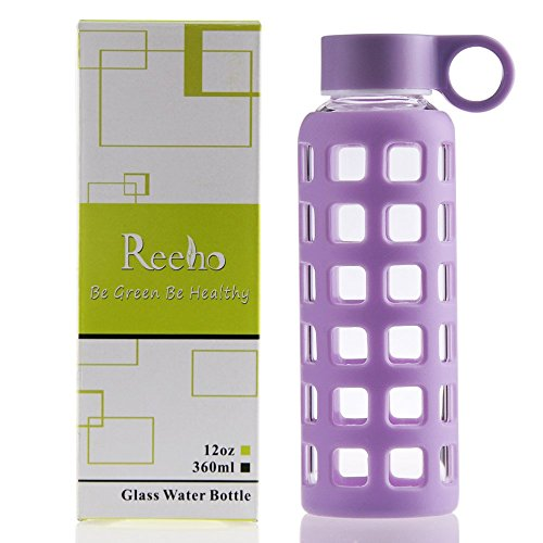 Reeho® Deportes Borosilicato Botella de Agua de Vidrio con Silicona M