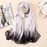AHUIOPL New Brand Women Scarf Summer Silk Scarves Shawl And Wrap Lady Female Bandana Vintage Large Size Sunscreen Hijab,Black White