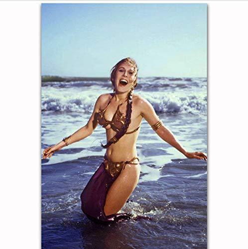 rucke Heiße Prinzessin Leia Slave Outfit Star Wars Film Schauspielerin Kunst Poster Leinwand Malerei Wohnkultur 40X60 cm Ohne Rahmen ()