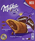 Milka Crunchy Break Choco - Knusprige Schokoladen Keksriegel mit Crèmefüllung aus Alpenmilchschokolade - 12 x 156g Packung mit 6 Einzelriegeln