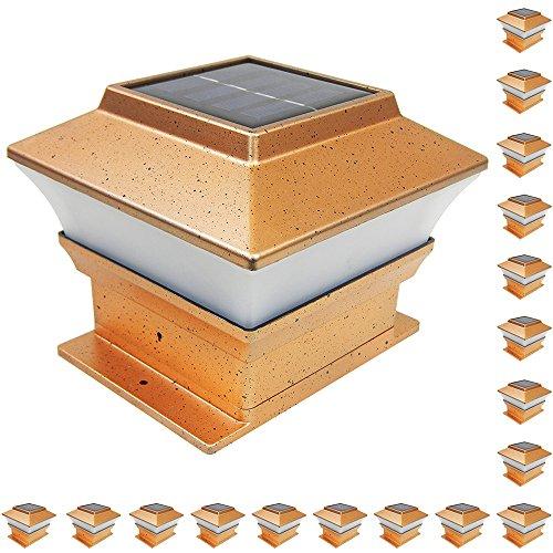 iGlow 18 Pack Copper Outdoor Garden 4 x 4 Solar LED Post Deck Cap Square Fence Light Landscape PVC Vinyl Wood Bronze