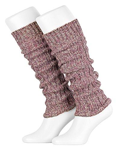 Piarini Damen-Stulpen Legwarmer Wolle Farbe Multicolour-rose