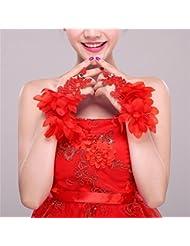 DELLT- Gants de mariée Nouveau rouge court poignet de paragraphe poignet style coréen doigt gants Accessoires de robe de mariée