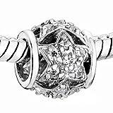 Pugster Filigree Vintage Antique Clear Star Swarovski element crystal Bead Charm Fits Pandora Bracelet