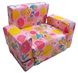 Pink Color Kids Children Toddler Cartoon Design Sofa Cum Bed Foldable High Quality Very Soft Foam & Cloth Durable Fully Washable Can Carry for Picnic, Travel Not Heavy Weightedr (1 to 3 Year Age)