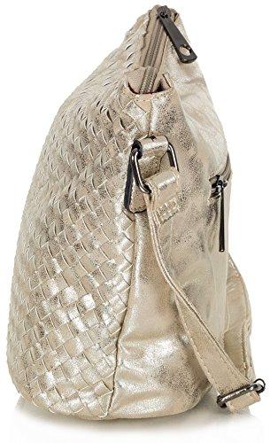 Taschenloft kleine Beuteltasche Damen Umhängetasche Crossbody Bag Kunstleder (27,5 x 22 x 13 cm) Gold