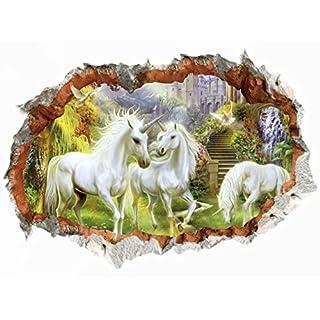 WandSticker4U- Wandtattoo in 3D Optik: MÄRCHENWELT   Wandbild: 50x70 cm   Wandsticker Pferd Poster Wald Horse Einhorn Wandaufkleber   Wanddeko fürs Kinderzimmer Mädchen, Prinzessin, Pferdefans