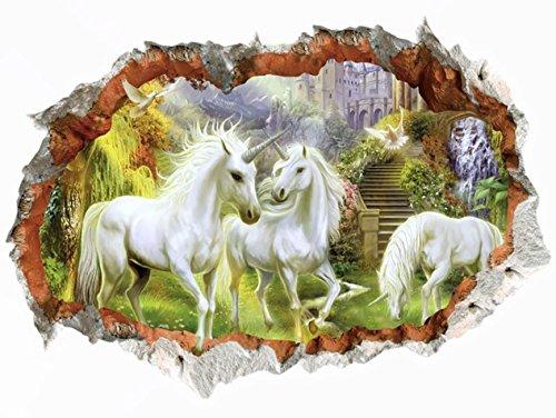 WandSticker4U- Wandtattoo in 3D Optik: MÄRCHENWELT | Wandbild: 50x70 cm | Wandsticker Pferd Wald Horse Wandaufkleber Einhörner Poster Einhorn | Deko fürs Kinderzimmer Mädchen Prinzessin Pferde-Fans