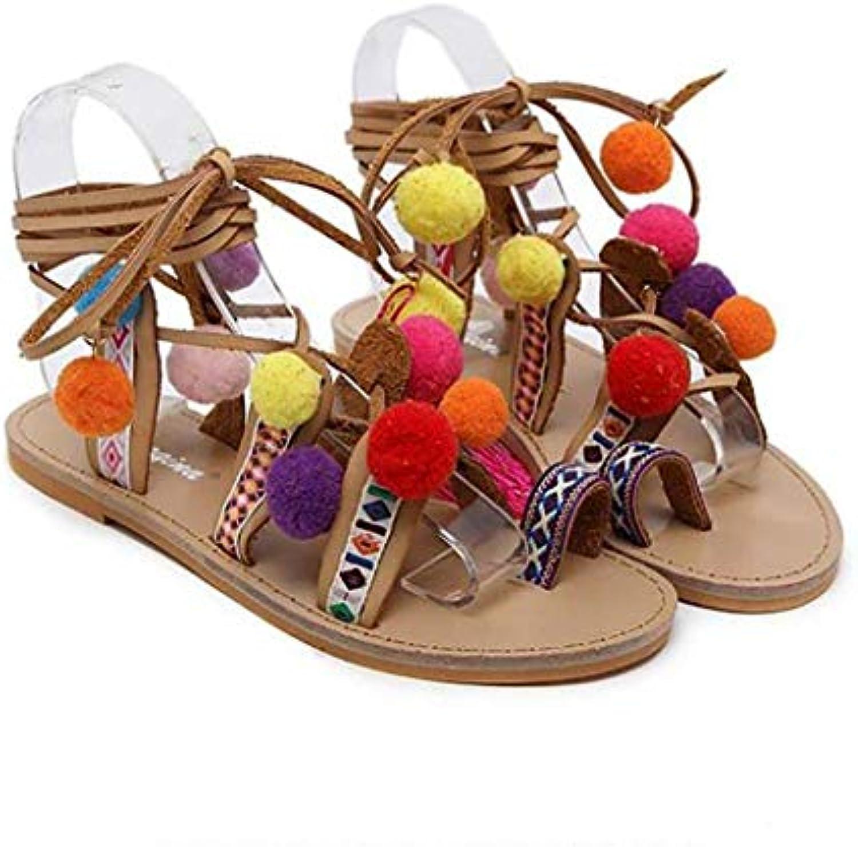 Oudan Sandali Slipper Ladies Summer Summer Summer Hairball Cinturino alla Caviglia Scarpe Piatte, 39 (Coloreee   Come Mostrato... | Alta qualità e basso sforzo  a3b4e6