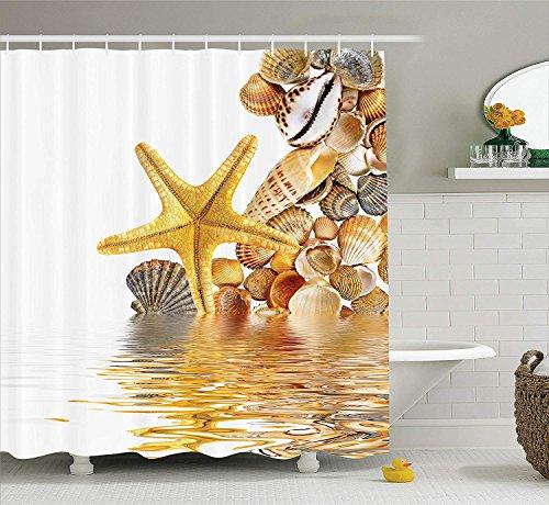 JIEKEIO Seashells Shower Curtain, Shells and Starfish Reflection Water Golden Yellow Spa Clear Beach Theme, Fabric Bathroom Decor Set with Hooks, 60 * 72inchs Long, Earth Yellow Cream - Spa Seashell