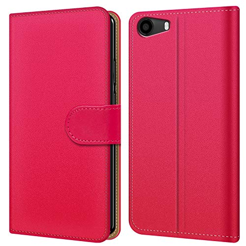 Conie BW43760 Basic Wallet Kompatibel mit Wiko Lenny 2, Booklet PU Leder Hülle Tasche mit Kartenfächer & Aufstellfunktion für Lenny 2 Case Pink
