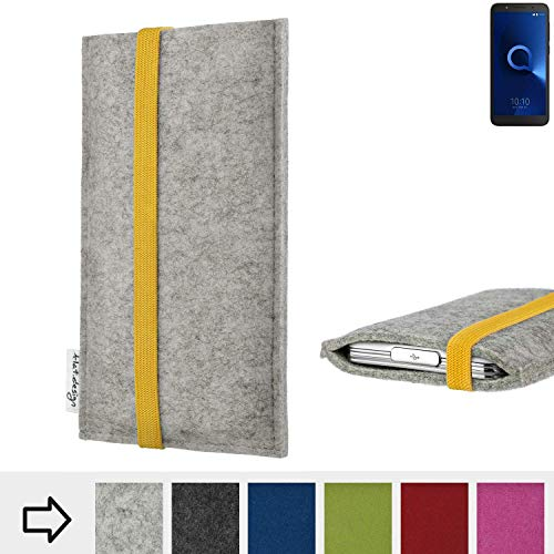 flat.design Handyhülle Coimbra mit Gummiband-Verschluss für Alcatel 1C Single SIM - Schutz Case Etui Filz Made in Germany in hellgrau gelb - passgenaue Handy Tasche für Alcatel 1C Single SIM