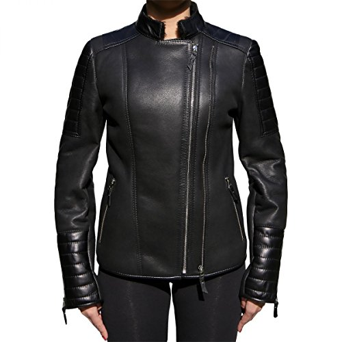 Lammfelljacke - KAJA Damen Echtleder Bikerjacke Merino Fell schwarz Size M