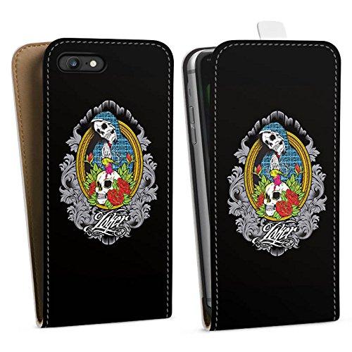 Apple iPhone X Silikon Hülle Case Schutzhülle Joker - Mary Blumen Totenkopf Downflip Tasche weiß