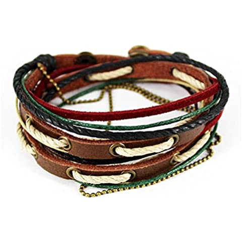 bluegrass simple color de moda cuerda Three-tone botón Wrap pulsera