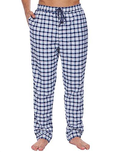 Untlet Herren Pyjamahose Klassisch Kariert Freizeithose Lang Schlafanzughosen Baumwolle mit Gummiband Blau 502