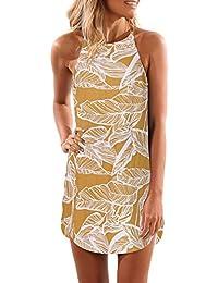 f18326e2c2f Blooming Jelly Women Dress Spaghetti Strap Floral Leaf Print Sleeveless  Mini Beach Sundress