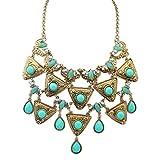 Epinki Damen Vergoldet Halskette, Damenkette Statementkette Choker Retro Metall Dag Tag Grün Gold