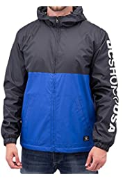 DC Shoes Men's Spectral Ripstop Windbreaker Jacket Black Royal Blue XL
