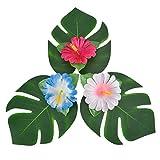 Pangda 32 Stücke Simulation Hibiskus Tropische Blätter für hawaiianische Luau Dschungel Party Dekoration - 5