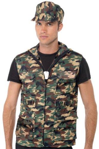 Kostüm Set Soldat (Smiffy's - Soldatenkostüm Zubehör Kostüm Soldat Set für Herren Army Weste M)