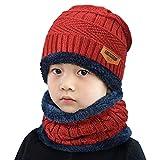 heekpek Bavaglino per Bambini in Due Pezzi Cappello a Cuffia Caldo All'aperto in Maglia Invernale Ragazzo e Ragazza (Rosso)