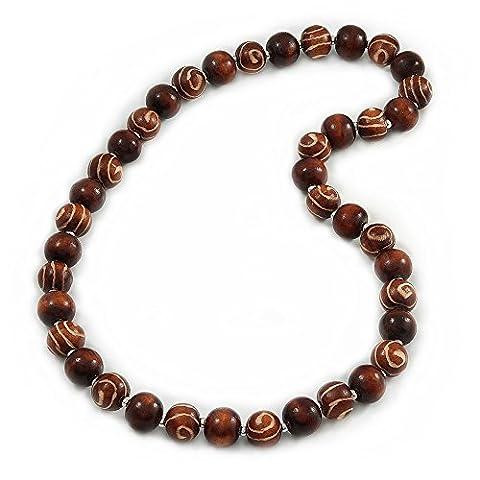 Long collier de perles en bois marron trapu–84cm, taille L