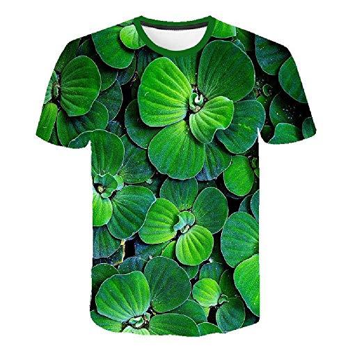 Simple Street Fashion 3D-Druck Geometrie Herrenhemd Sommer Großes T-Shirt Einzigartiges Top, grüne Pflanzenblätter 5XL - Lee T-shirt Hat