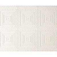 AS Creation Expanded Blown Vinyl Ceiling Wallpaper White 6640-13 Sample by AS Creation by AS Creation