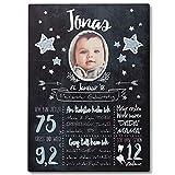 FANS & Friends Meilenstein Tafel aus Holz | DIN A3 | Personalisiert mit Foto, Namen & Daten | 1. Geburtstag | Baby, Kleinkind (Blau)