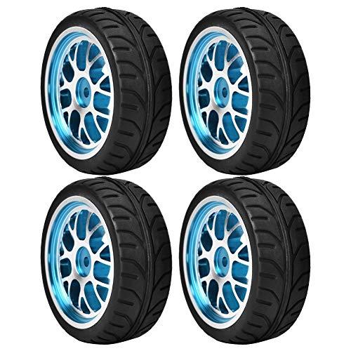 Dilwe Ruote in Gomma RC, 4 Ruote gommate Kit Accessori per Pezzi Ricambio per Cerchioni per 1/10 RC Auto(Blue-Surface)