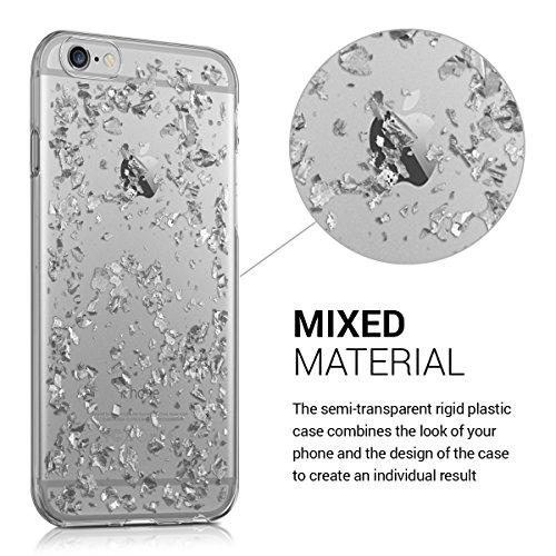 kwmobile Housse miroir pour Apple iPhone 6 / 6S Étui TPU en silicone cover portable, housse de protection en couleur argent miroitant flocons argenté transparent
