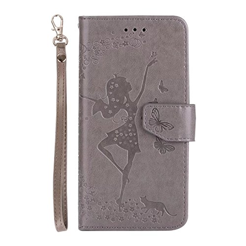 Abnehmbare 2 in 1 Crazy Horse Texture PU Ledertasche, Fairy Girl Embossed Pattern Flip Stand Case Tasche mit Lanyard & Card Cash Slots für iPhone 6 & 6s ( Color : Rosegold ) Gray