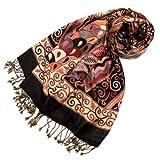 LORENZO CANA Marken Pashmina Damenschal Schaltuch Stola Umschlagtuch Naturfaser opulentes Muster in harmonischen braun Farben mit Fransen 70 cm x 200 cm - 78112