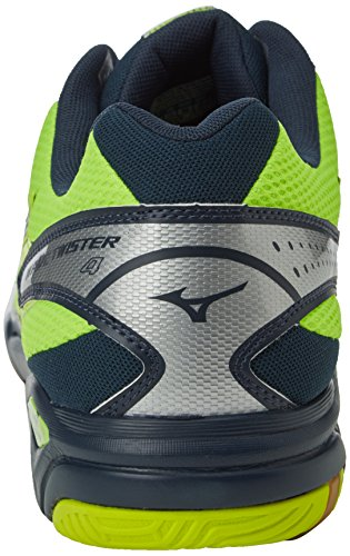 Mizuno Wave Twister 4, Chaussures de Volleyball Homme Multicolore (Neon Yellow/Dress Blues/Silver)