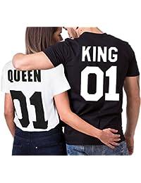 JWBBU King Queen Couple T-Shirt Partner Look Couple Set Cadeau pour Cadeau D'anniversaire Cadeau Anniversaire Mariage, Noir/Blanc