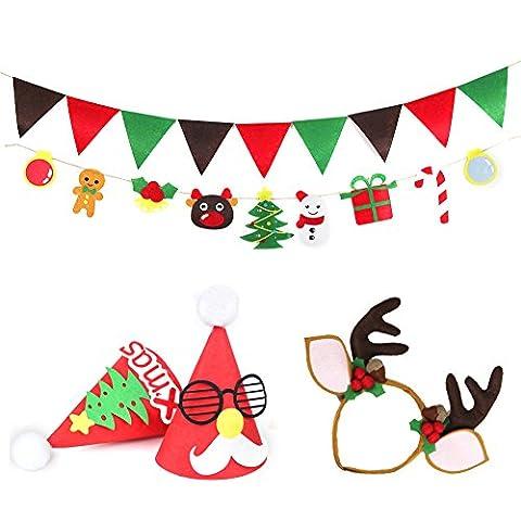 Beauty360 Weihnachtsdekoration Banner Party Spiele DIY Handgefertigt für Kinder Weihnachtsverzierung mit 2x 1.4 Meter Seil, 1x Elch Cap, 2x Red Cap Christmas Decoration (B)