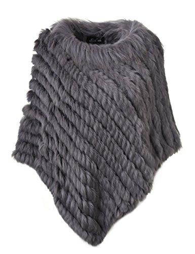 Ferand - poncho elegante mantella casdo inverno a maglia in pelliccia vera di coniglio con colletto in pelliccia di procione - donna - taglia unica - grigio scuro
