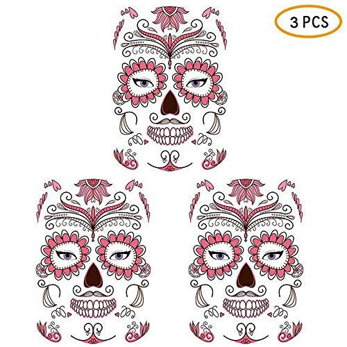 Insense Waterproof 3 Pack Halloween Face Tattoo Sticker, Skull Scar Rose Spider Web Temporary Face Tattoo Kit, Waterproof Fake Tattoo for Women Men Boys Girls Kids Adults (Style C)