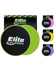 Elite Sportz Core Sliders und Gliding Disc Fitness Training - Sliders Fitness für den Kern - doppelseitig für den Einsatz auf Teppich oder Parkett