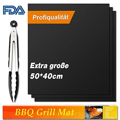 Vivibel BBQ Grillmatte (3er Set), 50x40 cm Extra große Grillfolie, Grillmatten für Holzkohle, Gasgrill & Backofen (Schwarz)