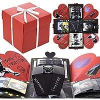 VEESUN Caja de Regalo Creative Explosion Box, DIY Álbum de Fotos Amor Memory Album Caja Fotos Regalos Originals para Aniversario de Boda Cumpleaños Navidad para Mujer Niña Novios Novia, Negro y Rojo