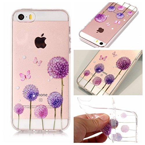 iPhone 5S Hülle, Voguecase Silikon Schutzhülle / Case / Cover / Hülle / TPU Gel Skin für Apple iPhone 5 5G 5S SE(Rose Traumfänger) + Gratis Universal Eingabestift Lila Löwenzahn 02