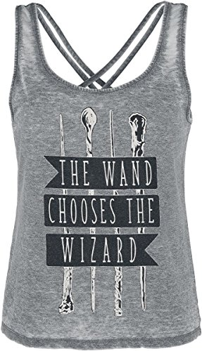 Harry Potter The Wand Chooses The Wizard Girls Top Mottled Grey