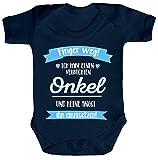 ShirtStreet Lustige Geschenkidee Strampler Bio Baumwoll Baby Body kurzarm Ich habe einen verrückten Onkel, Größe: 12-18 Monate,Nautical Navy