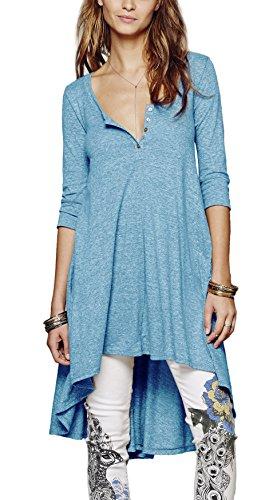 Urbancoco Damen kurz Ärmelige button down Asymmetrisch T-Shirt Sommer Tunika (L, blau) - Button-down V-neck T-shirt